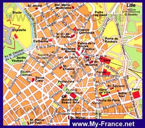 Карта Лилля с достопримечательностями