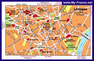 Карта Лиможа с достопримечательностями