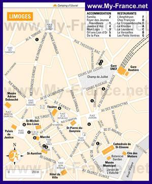 Туристическая карта Лиможа с отелями