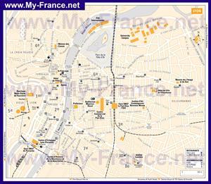 Туристическая карта Лиона с отелями и достопримечательностями