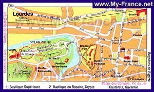 Туристическая карта Лурда с достопримечательностями