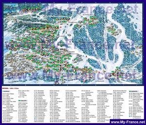Карта отелей и Шале Мерибеля