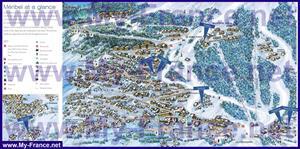 Подробная туристическая карта курорта Мерибель