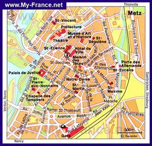 Карта Меца с достопримечательностями
