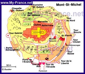 Подробная карта Мон-Сен-Мишеля с достопримечательностями