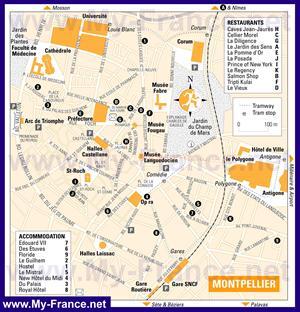 Карта Монпелье с отелями
