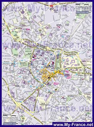 Туристическая карта Монпелье с достопримечательностями