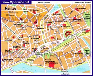 Карта Нанта с достопримечательностями