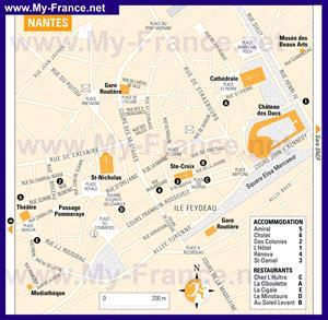 Туристическая карта Нанта с отелями