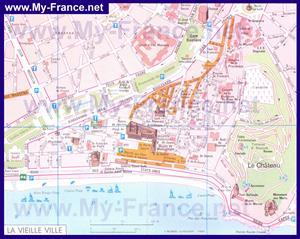 Карта старого города Ниццы с достопримечательностями
