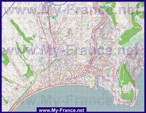 Подробная карта города Ницца