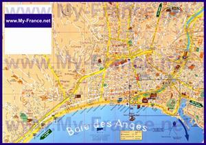 Подробная туристическая карта Ниццы с достопримечательностями