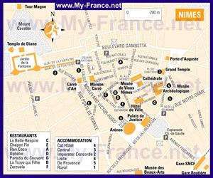 Карта Нима с отелями