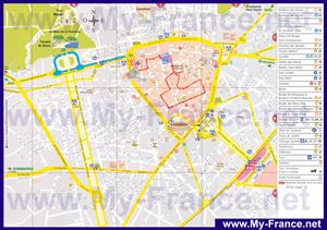 Подробная туристическая карта Нима с достопримечательностями
