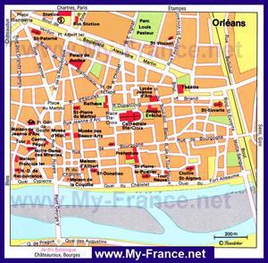 Карта Орлеана с достопримечательностями