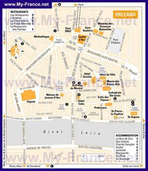 Туристическая карта Орлеана с отелями