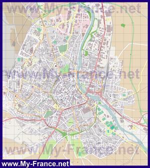 Подробная карта города Осер