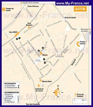 Карта Отёна с отелями и достопримечательностями