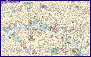 Карта достопримечательностей Парижа