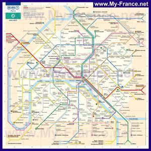 Карта метро Парижа