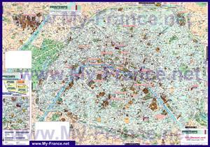 Подробная туристическая карта Парижа на русском языке