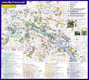 Туристическая карта Парижа с достопримечательностями