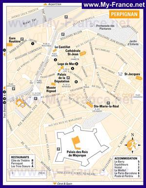 Туристическая карта Перпиньяна с отелями и достопримечательностями