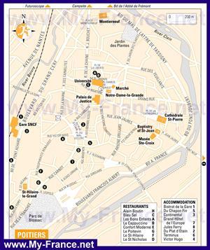 Туристическая карта Пуатье с отелями и достопримечательностями