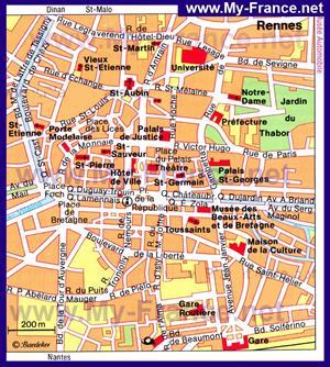 Карта Ренна с достопримечательностями