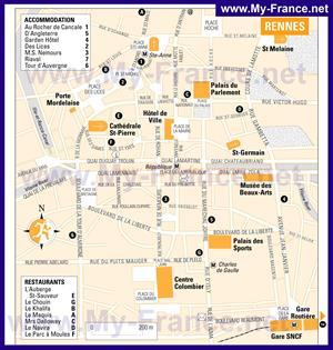 Туристическая карта Ренна с отелями
