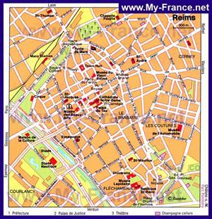 Карта Реймса с достопримечательностями