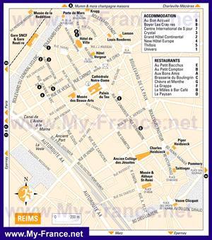 Туристическая карта Реймса с отелями