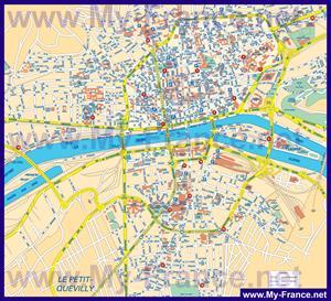 Подробная карта города Руан с достопримечательностями