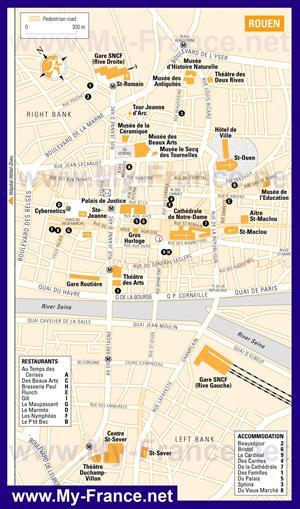 Туристическая карта Руана с отелями