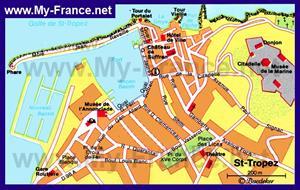 Карта Сен-Тропе с достопримечательностями