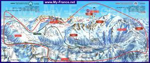 Карта горнолыжных трасс и склонов курорта Шамони