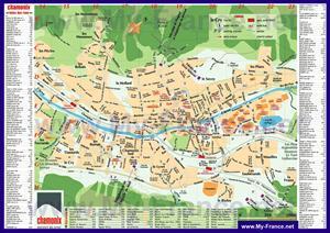 Подробная туристическая карта курорта Шамони