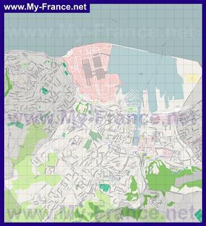 Подробная карта города Шербур