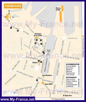 Туристическая карта Шербура с отелями
