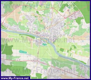 Подробная карта города Шинон