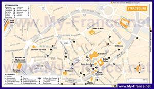 Карта Страсбурга с отелями