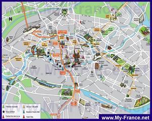 Туристическая карта Страсбурга с достопримечательностями