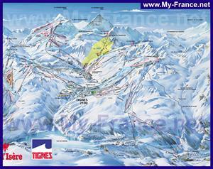 Карта горнолыжных трасс курорта Тинь