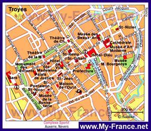 Туристическая карта Труа с достопримечательностями