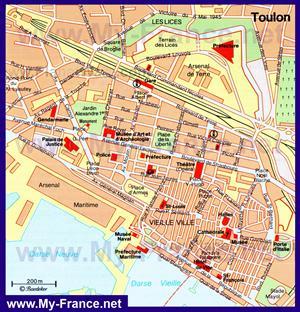 Карта Тулона с достопримечательностями