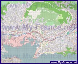 Подробная карта города Тулон