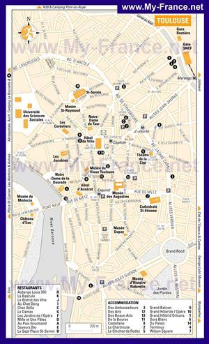 Карта Тулузы с отелями
