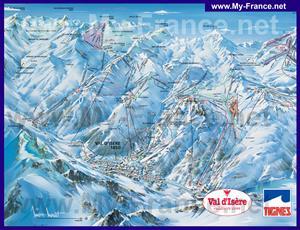 Карта горнолыжных трасс курорта Валь-д'Изер