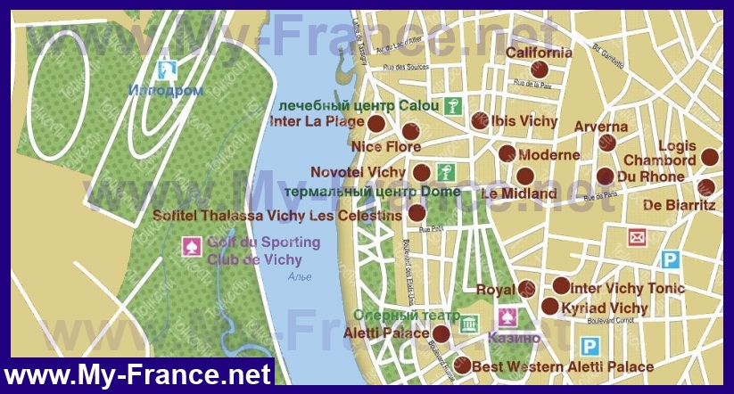 Карта отелей виши