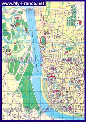 Подробная туристическая карта города Виши с достопримечательностями